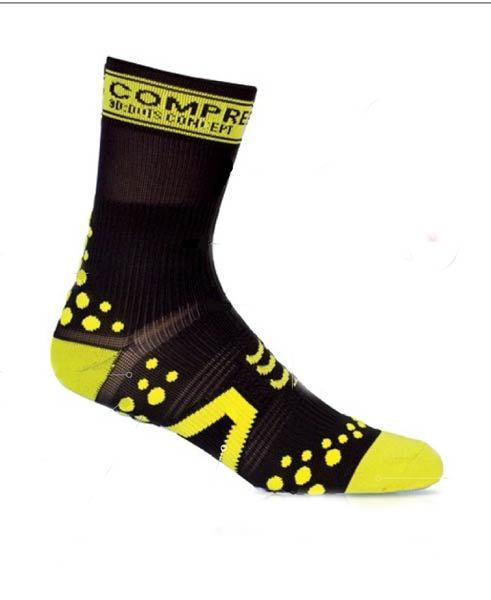 calcetin compressport sock v2 bike negro amarillo