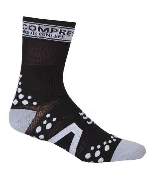 calcetin compressport sock v2 bike negro blanco